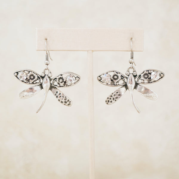 Vintage Silver Dragonfly Earrings, 1990s