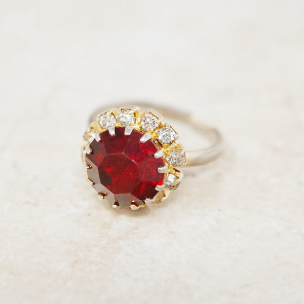 Vintage Ruby Red Rhinestone Ring, 1950s