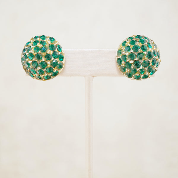 Vintage Emerald Crystal Pavé Dome Earrings by Coro, 1950s