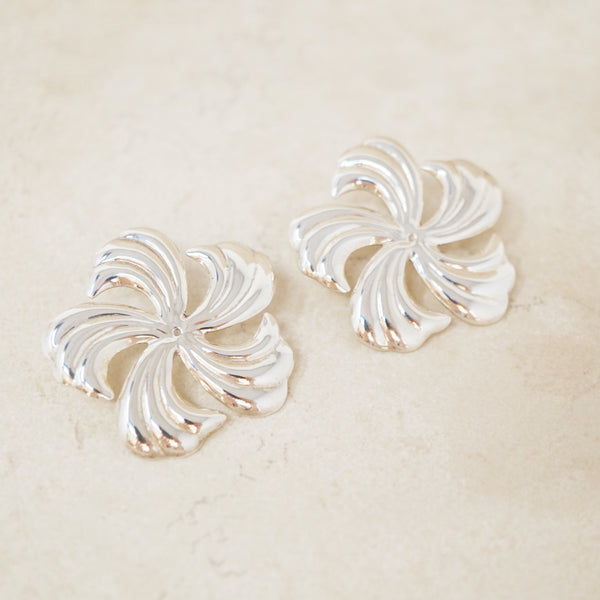 Vintage Sterling Silver Pinwheel Flower Statement Earrings, 1970s