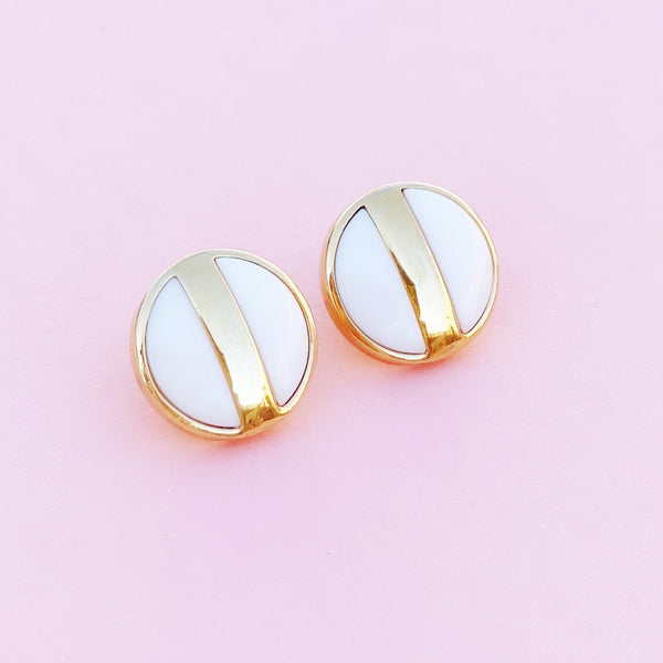 Vintage Gilt & White Ceramic Button Stud Earrings by Monet, 1980s