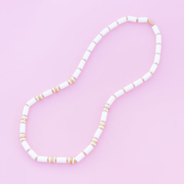 Vintage Gold & White Barrel Bead Necklace, 1980s