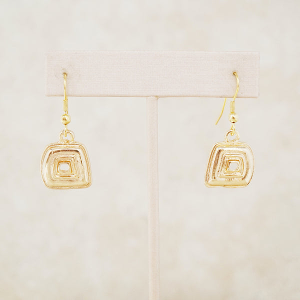 Gold Abstract Square Dangle Earrings