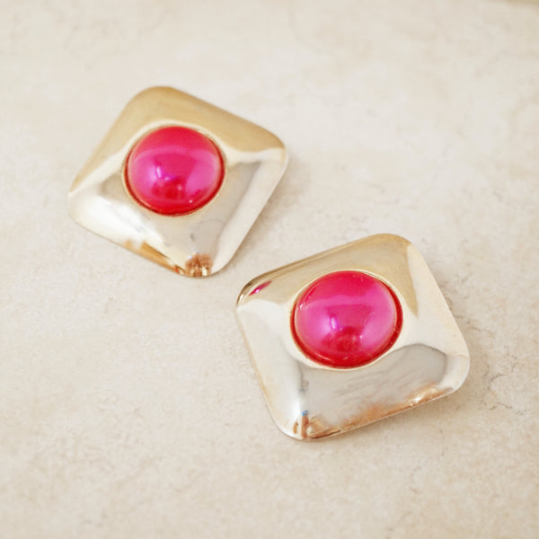 Vintage Oversized Pink & Gold Statement Earrings