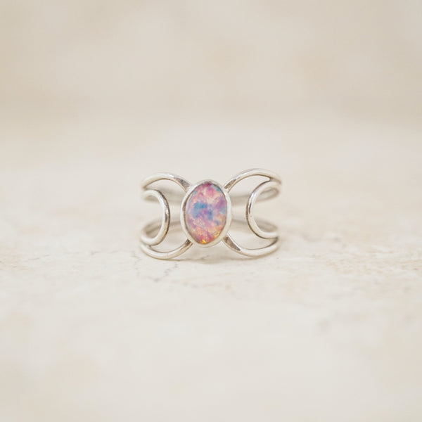 Vintage Sterling Silver Opal Ring, 1990s