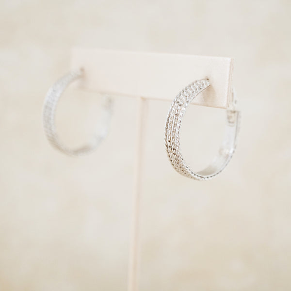 Vintage Goldette Silver 1960s Textured Hoop Earrings