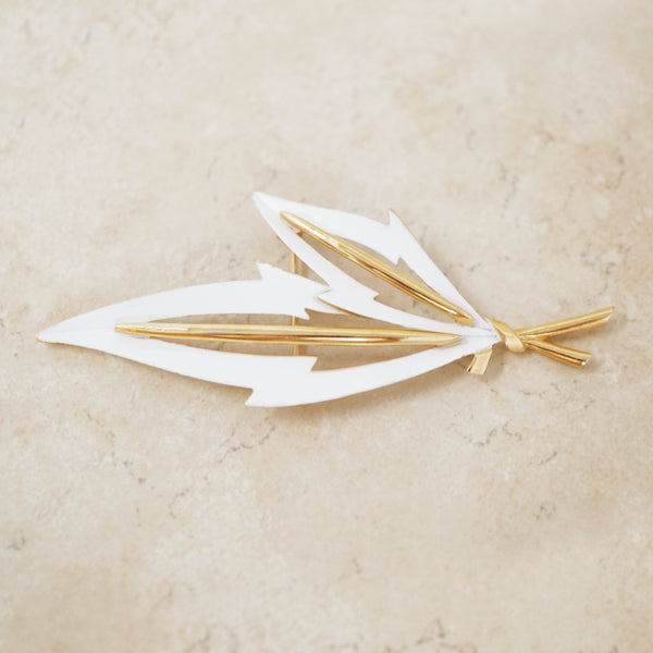 Vintage Gold & White Enamel Leaf Brooch by Crown Trifari, 1960s