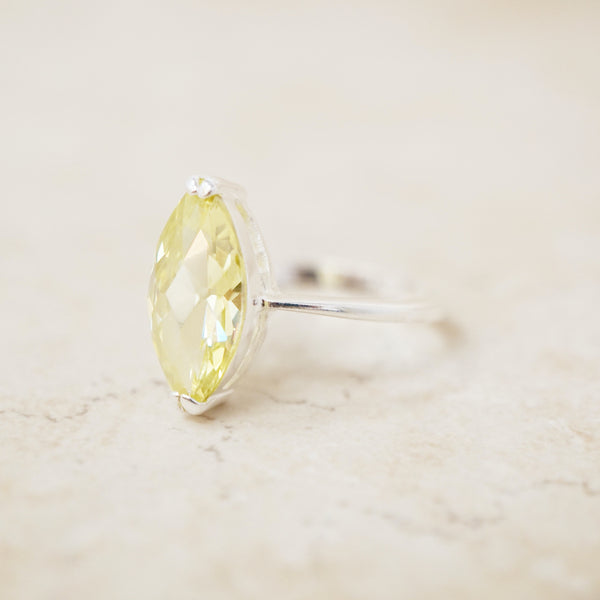 Sterling Silver Yellow Sapphire Cocktail Ring