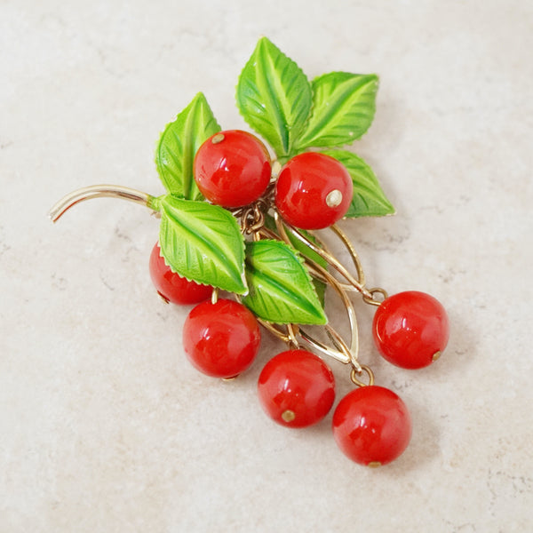 Vintage Cherry Dangle Brooch, 1960s