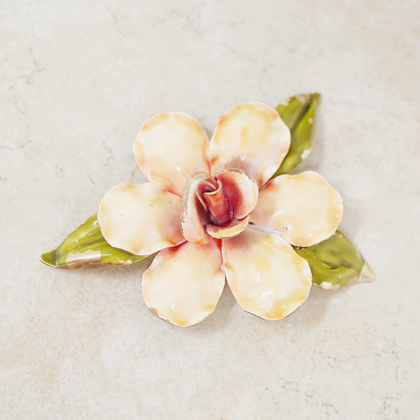 Vintage Peach Enamel Blooming Rose Brooch, 1950s