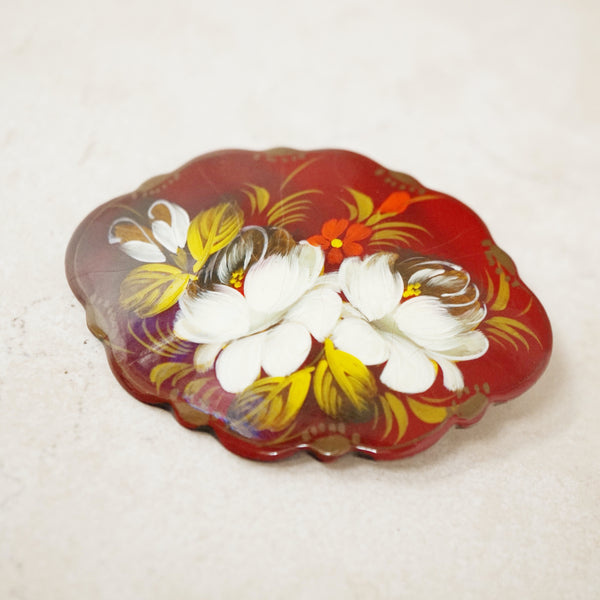 Vintage Hand Painted Floral Russian Brooch, 1960s