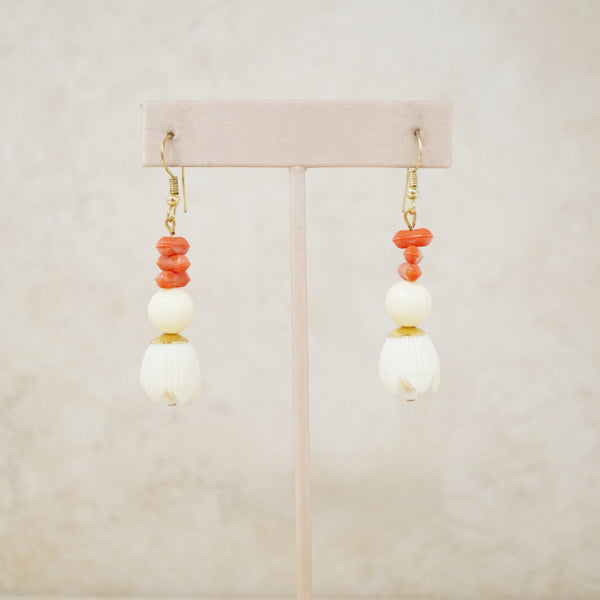 Vintage Faux Coral Dangle Earrings, 1970s