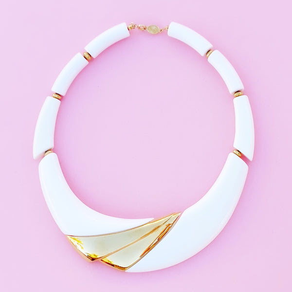 Vintage Gilt & White Resin Modernist Statement Choker Necklace by Napier, 1980s