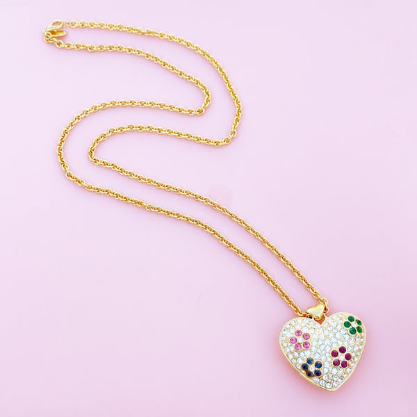 Vintage Gilded Puffy Rhinestone Heart Pendant Necklace with Floral Motif By Nolan Miller, 1980s