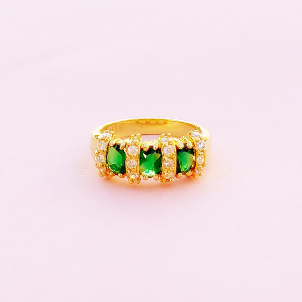 Vintage 10k Gold Ring with Emerald & Diamond CZ Stones (Size 8), 1980s