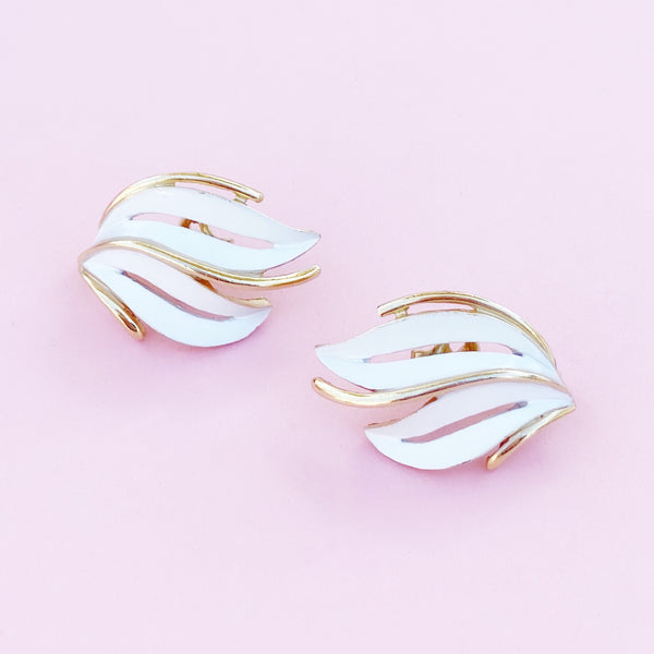 Vintage Gilt & White Enamel Abstract Leaf Earrings By Crown Trifari, 1960s