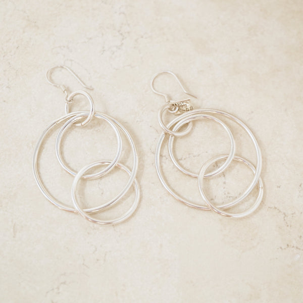 Vintage Sterling Silver Interlocking Hoop Earrings, 1970s