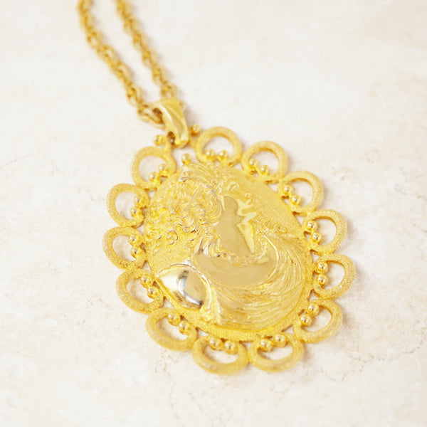 Vintage Gilded Roman Goddess Cameo Pendant Necklace by Trifari, 1960s
