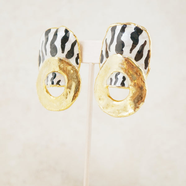 Vintage Gold Luster and Zebra Statement Earrings, 1980s