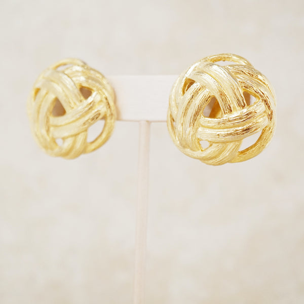 Vintage Gold Knot Statement Earrings, 1970s