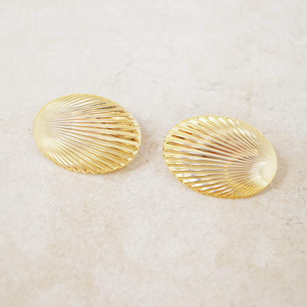 Vintage Gilt Shell Textured Statement Earrings, 1980s