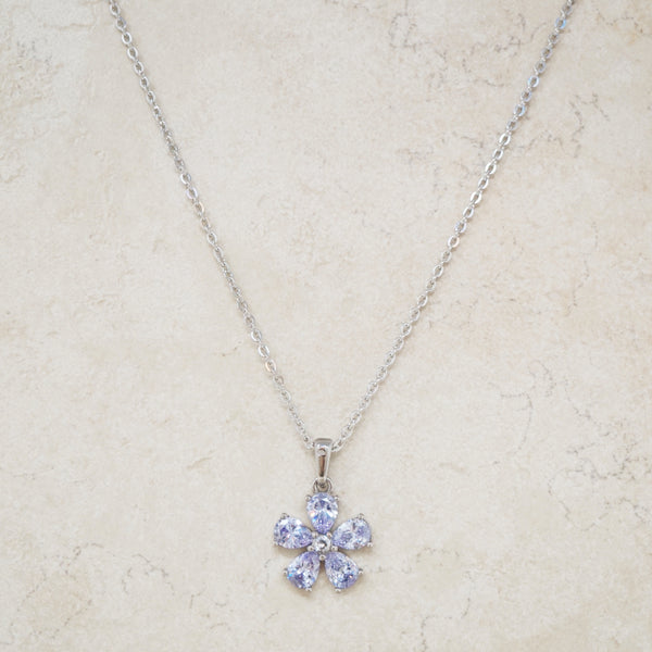 Lilac Crystal Flower Necklace