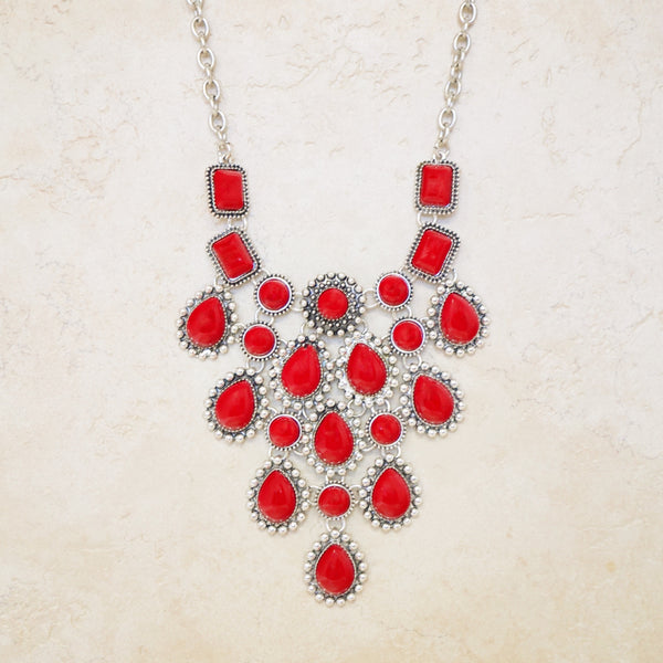 Red Howlite Statement Necklace