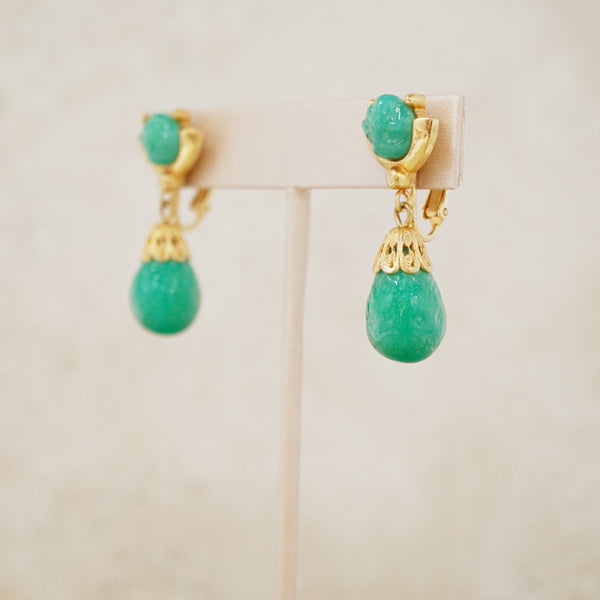 Vintage Jade Peking Glass Drop Earrings, 1960s