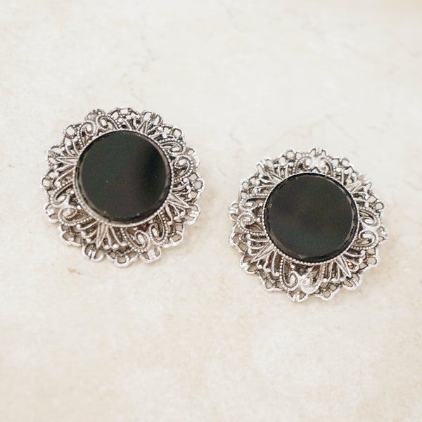 Vintage Ornate Onyx Earrings