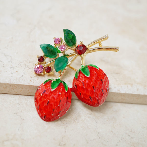 Vintage Enameled Strawberries Brooch by ModeArt, 1960s