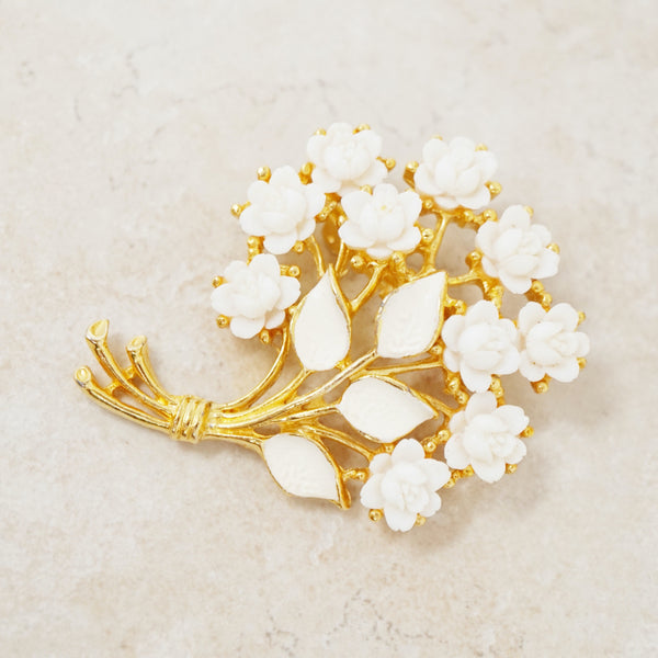 Vintage Gilt, Celluloid & White Enamel Floral Bouquet Brooch, 1960s