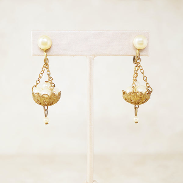 Vintage Filigree Basket of Pearls Chandelier Dangle Earrings, 1950s