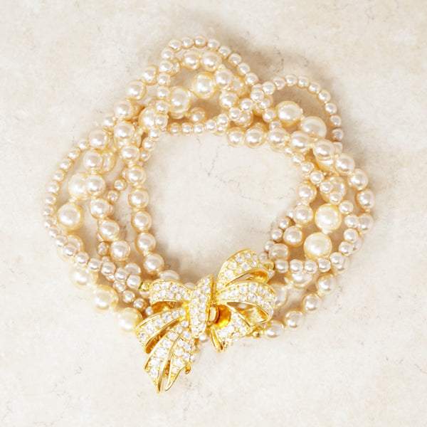 Vintage Five Strand Pearl Bracelet with Crystal Pavé Bow Clasp by Nolan Miller, 1980s