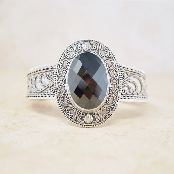Sterling Silver & Onyx Statement Cuff
