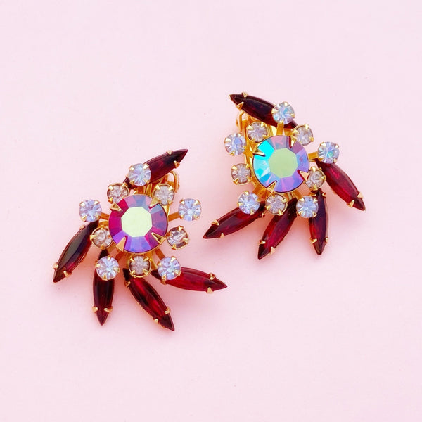 Vintage Aurora Borealis & Ruby Red Rhinestone Statement Earrings by Beau Jewels, 1960s