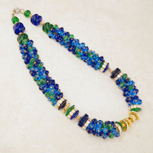 Vintage Blue & Green Beaded Cluster Statement Necklace, 1970s