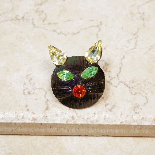 Vintage Japanned Black Cat Brooch with Rhinestones by Dodds, 1960s