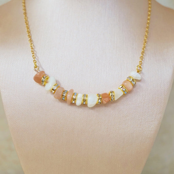 Pink Moonstone Gemstone Bar Necklace