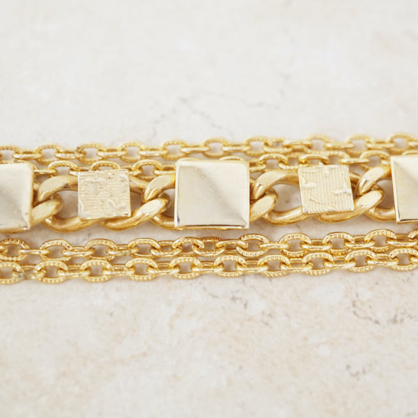 Vintage Golden Five Chain Bracelet, 1980s