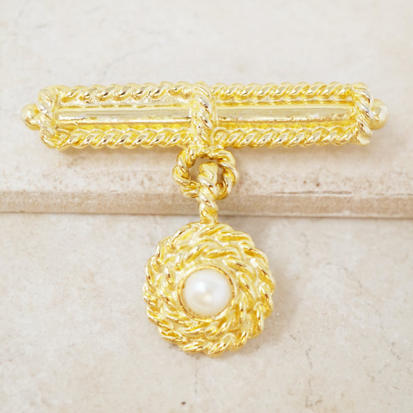 Vintage Gilded Rope & Pearl Medal Style Brooch, 1980s