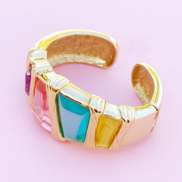 Vintage Gilded Statement Cuff with Pastel Resin Crystals By Givenchy, 1980s