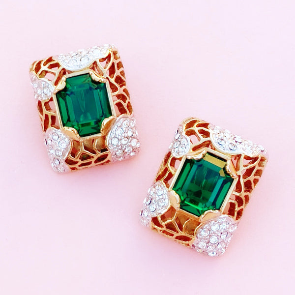 Vintage Brutalist Style Gilded Statement Earrings with Emerald Crystals By Carolee, 1980s
