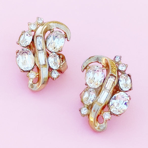 Vintage Gilded Swirl Cocktail Earrings With Crystals By Crown Trifari, 1953