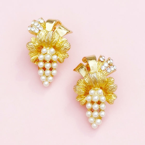 Vintage Gilt & Pearl Grapes Cocktail Climber Earrings By Hobé, 1950s