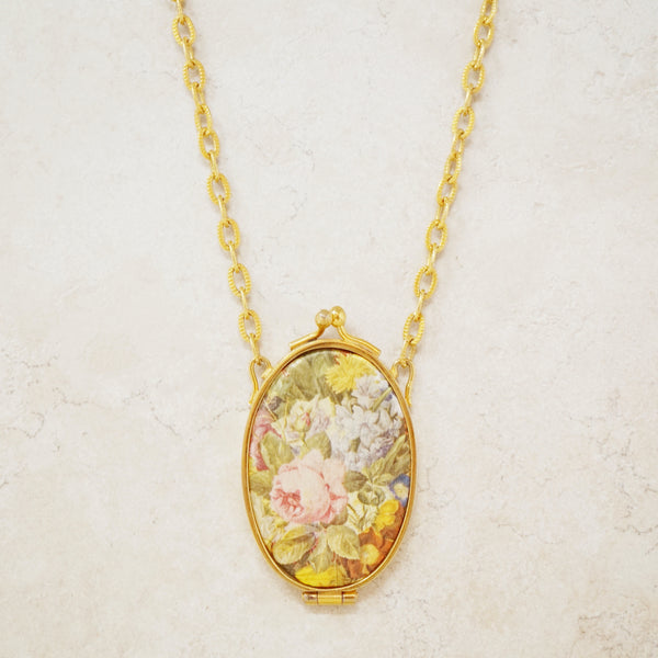 Vintage Floral Mirror Locket Necklace, 1970s
