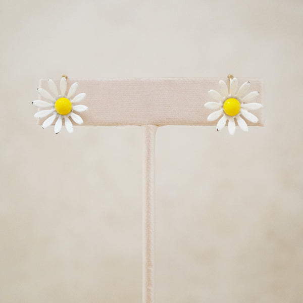 Vintage Dainty Daisy Earrings, 1960s