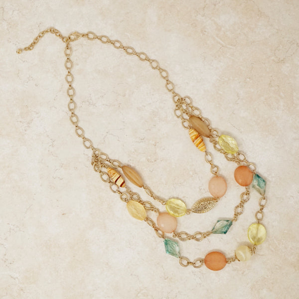 Vintage Three Strand Beaded Chain Necklace, 1990s