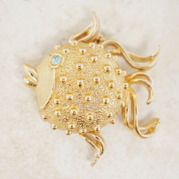 Vintage Gilded Blowfish Solid Perfume Locket Brooch by Fuller Brush, 1960s