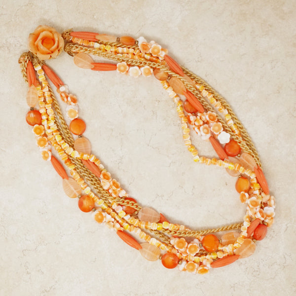 Vintage Six Strand Coral Colored Beaded Statement Necklace, 1960s