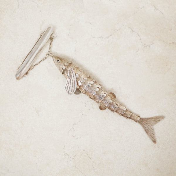 Vintage Sterling Silver Articulated Fish Brooch, 1970s